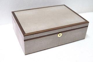 Jewellery box shagreen walnut