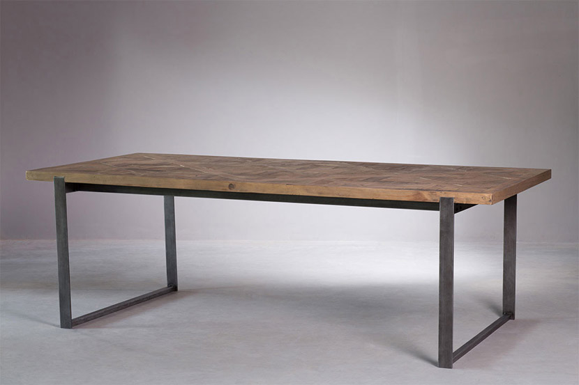 shows parquet reclaimed dining table