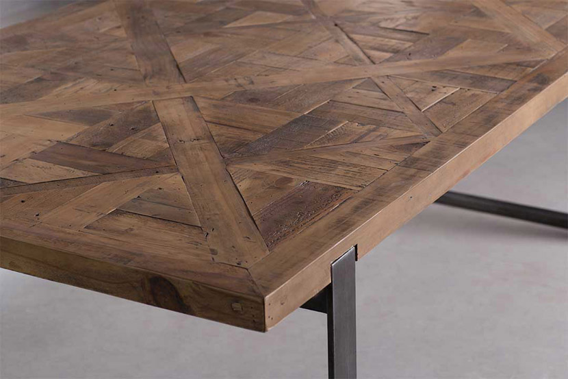 parquet reclaimed pine dining table