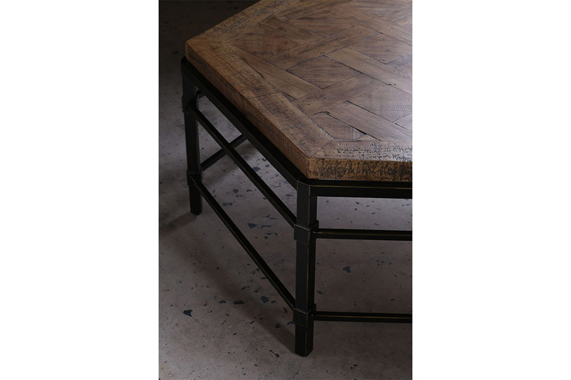 reclaimed parquet pine coffee table detail