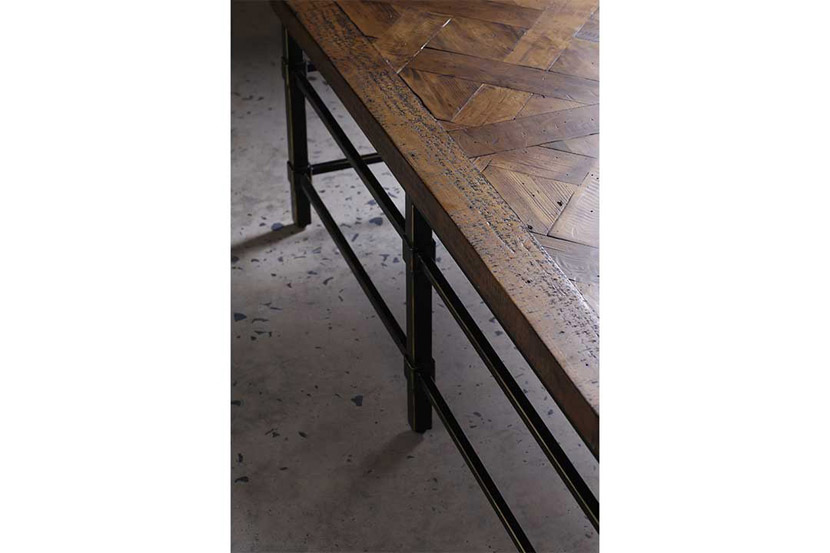 reclaimed parquet pine coffee table details