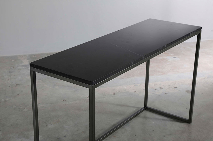 rectangle black marble console table