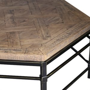 Shows detail of Parquet Reclaimed Pine coffee table